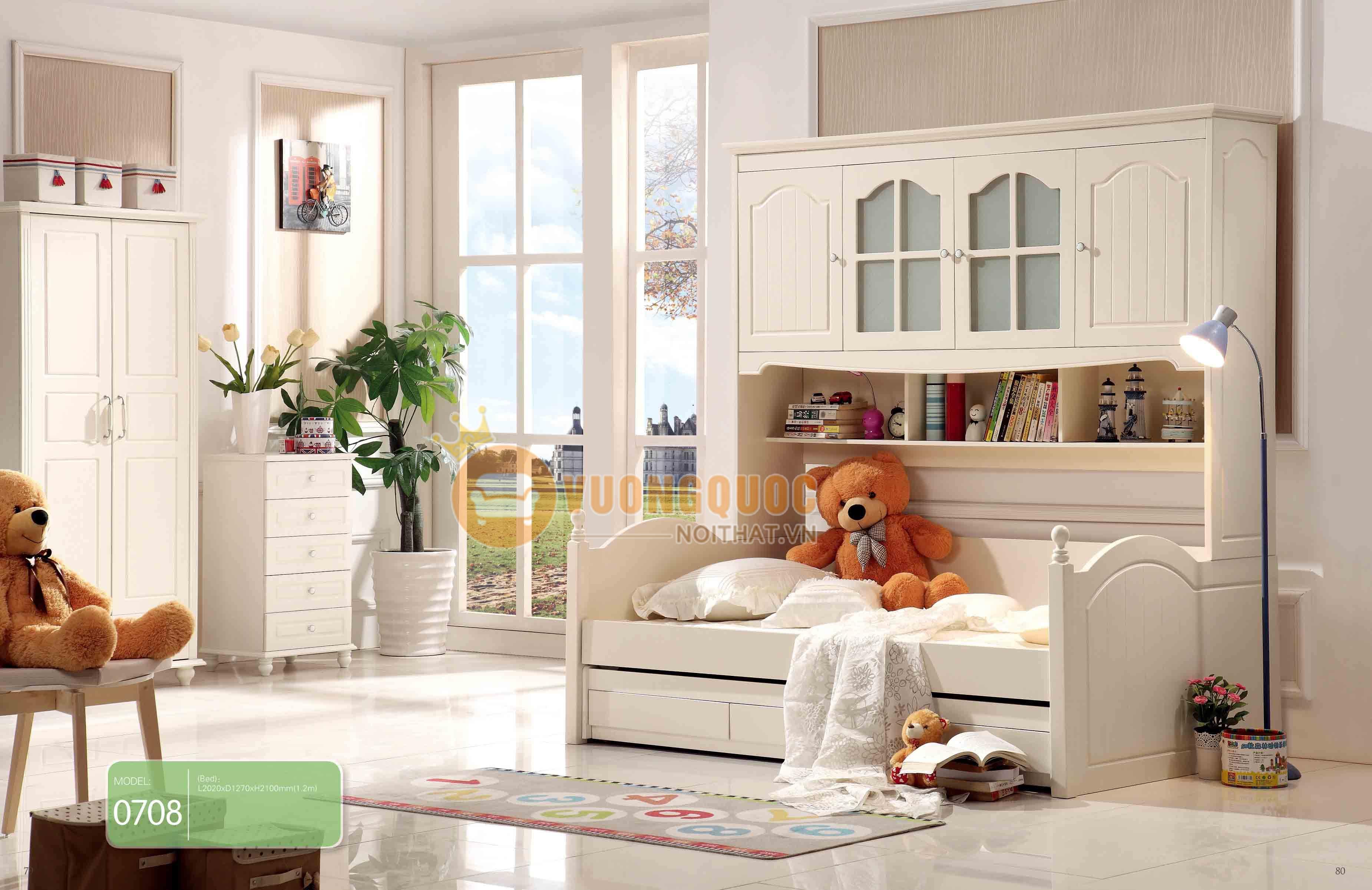 Giường ngủ kết hợp tủ để đồ cho bé gái