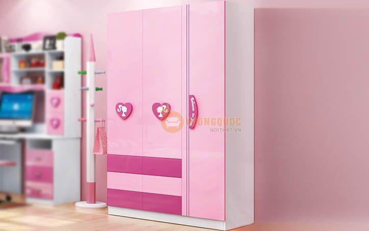 Tủ quần áo trẻ em màu hồng HHM810Q