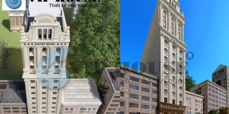 Thiết kế khách sạn cổ điển 3 sao 13 tầng tại Hà Tĩnh