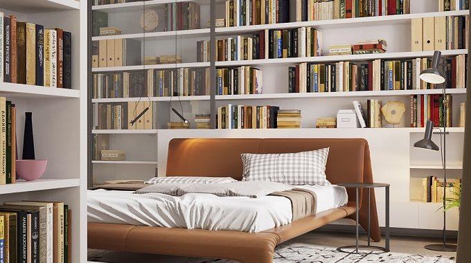 thiết kế giá sách trong phòng ngủ