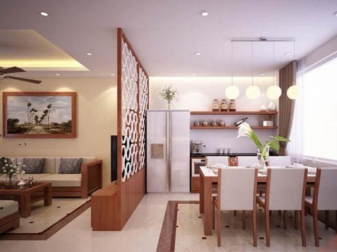 Vách ngăn gỗ ngăn cách phòng khách và phòng bếp ăn